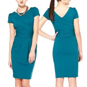Nue by Shani Teal Pleated Short Sleeve Dress